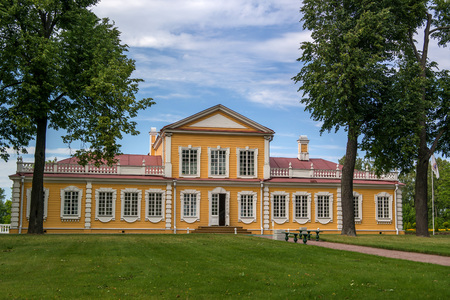 Travel Palace of Emperor Peter the Great in Strelna, suburb of St.Petersburg, Russia. Start of construction - 1716. View from the St. Petersburg highway.