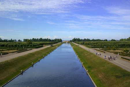 empties: Strelna, Russia - July 4, 2015: Canal in the park the Konstantinovsky Palace - the residence of the president of Russia. The channel starts from the palace, and empties into the Gulf of Finland.