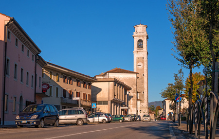 moon  metropolis: Bell tower of the church of Orsago, Italy. The bell tower located on the street Silvio Palli.