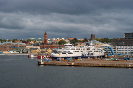 Helsingbog, Sweden - October 9, 2016: view of the city and the port on board the ferry to sail to Denmark. The passenger ferry prepares to leave in flight. Editorial
