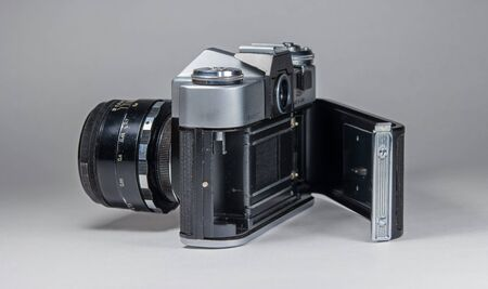 Gatchina, Russia - January 14, 2017: The old Soviet film camera Zenit. Photographed on a bright background.
