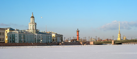 View on Kunstkamera museum, Rostral column, Peter and Paul Fortress, Ice on the river. St Petersburg, Russia Stock Photo