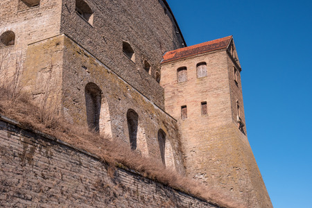 herman: Narva, Estonia - Herman Castle on the banks of the river, opposite the Ivangorod fortress. Close-up.
