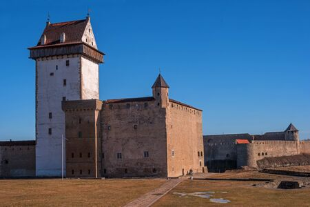 herman: Narva, Estonia - Herman Castle on the banks of the river, opposite the Ivangorod fortress.