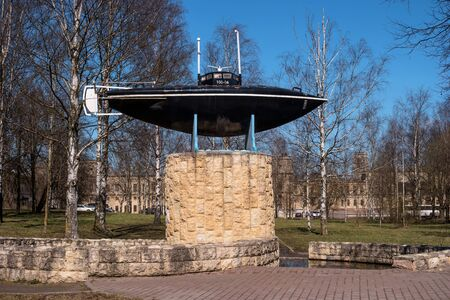Gatchina, Russia - May 3, 2017: Monument of the first Russian submarine.