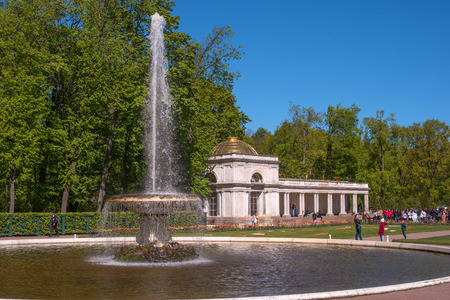 Peterhof, Russia - June 5, 2017: Voronikhinsky colonnades at Pertergof Palace. They close the parterres in front of the Great Palace on the north side and accent the entrance to the Sea Canal.
