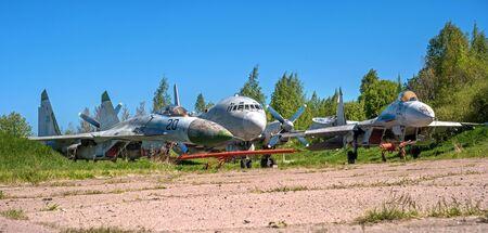 pushkin: Pushkin, Russia - June 5, 2017: Cemetery of old aircraft near St. Petersburg.