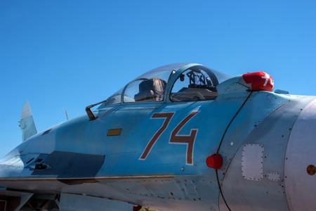 The cabin of a jet fighter pilot of Sukhoi SU27M - for NATO codification: Flanker-B. Stock Photo - 81267239