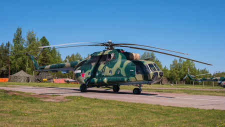 pushkin: Multipurpose helicopter Mi-8 MT at the airfield in Pushkin during the festive Airshow. Editorial