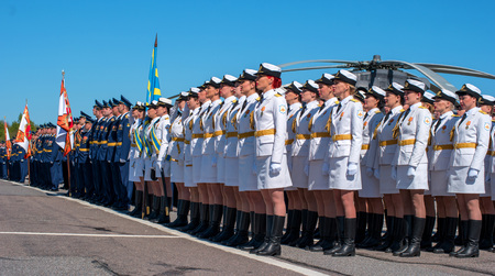 Pushkin, Russia - June 5, 2017: A solemn parade dedicated to the 75th anniversary of the 6th Army. Stock Photo - 81984541
