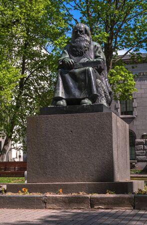 Sortavala, Republic of Karelia, Russia - June 12, 2017: Monument Petri Shemeikka, Karelian runic singer and storyteller.