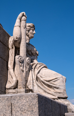 ship anchor: St. Petersburg. South rostral column. Female figure allegorically represents the river Neva.