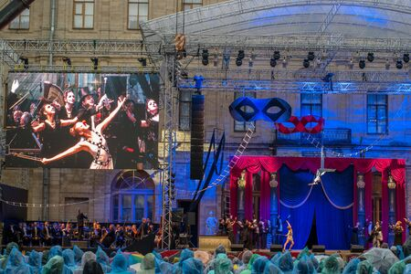 historical events: Gatchina, St. Petersburg, Russia - June 18, 2017: Scene from the operetta Mr. X. The presentation took place at the walls of the Gatchina Palace - the residence of the Russian emperor Paul I.