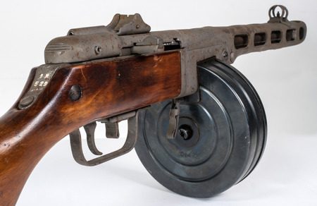 Submachine gun ppsh-41 on a light background. Stock Photo - 85003487