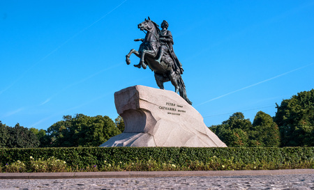 St. Petersburg, Russia - September 24, 2017: Monument to tsar and imperator Peter I the Great -The Bronze Horsemen-