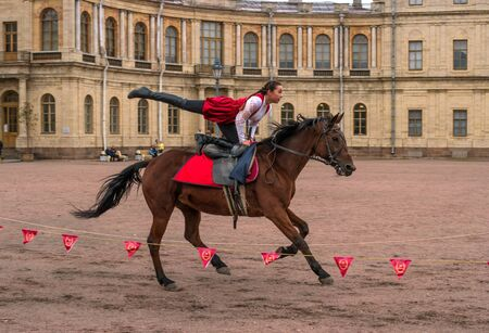 Gatchina, St. Petersburg, Russia - September 30, 2017: Horse show of Cossacks on the parade ground of the Gatchina Palace on the day of the anniversary of Emperor Paul I. Editorial
