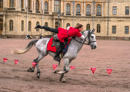 Gatchina, St. Petersburg, Russia - September 30, 2017: Horse show of Cossacks on the parade ground of the Gatchina Palace. Young Cossack performs tricks on horseback.