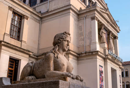Conegliano, Italy - October 13, 2017: Sculpture of a female lion at the entrance to the Academy. Left view. Editorial
