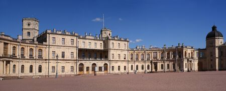 Gatchina Palace. Russia. Panoramic view of the Palace Square and the main entrance and the right wing of the palace with a watchtower.