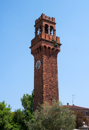 The medieval bell tower, or campanile, of San Stefano church, Murano, Venice