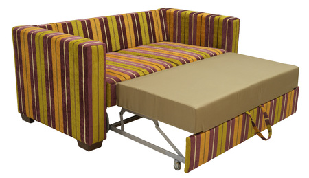 Colorful striped sofa in a disassembled state isolated on white background