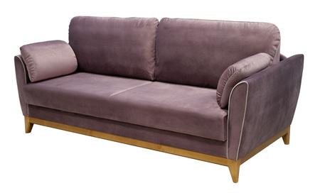 Elegant lilac sofa isolated on white background. Sofa on a wooden base