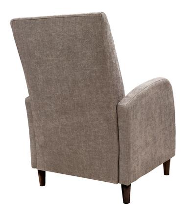 Fotel na białym tle. Fotel z szarobrązowej tkaniny na drewnianych nogach Zdjęcie Seryjne