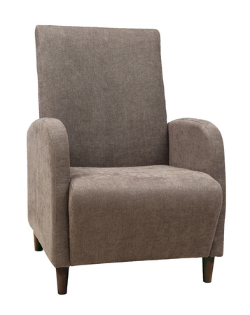 Armchair isolated on white background. Armchair in a gray-brown fabric on wooden legs Imagens