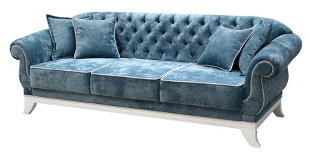 Classic sofa isolated on white background. The back of the sofa is decorated with a carriage fastener. Elegant white base Imagens