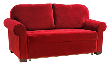 Red sofa isolated on white background. Cushioned furniture Imagens