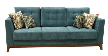 Turquoise sofa isolated on white background. View from behind. Imagens