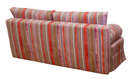 Colorful striped sofa on a white background. Stripes of cloth of red, pink, chocolate and violet colors.