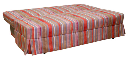 Colorful striped sofa on a white background. Stripes of cloth of red, pink, chocolate and violet colors. Sofa dismantled for sleep.