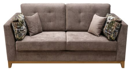 Brown sofa isolated on white background.