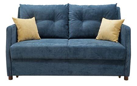 Turquoise sofa isolated on white background. Imagens