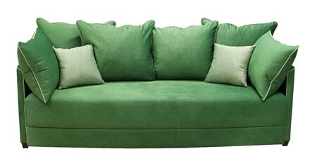 Green sofa isolated on white background. View from behind.