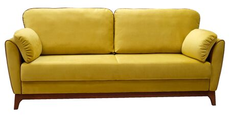 Yellow sofa isolated on white background. View from behind.
