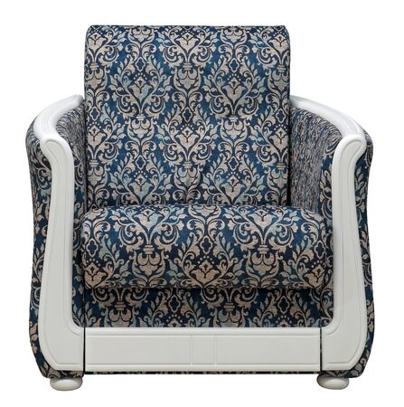 Armchair isolated on white background. The chair is decorated with white wooden overlays.