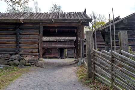 Skansen, the oldest open-air museum in the world. Farm buildings outbuildings. Barns and livestock pens. Stockholm, Sweden