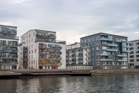Stockholm sleeping area, residential buildings on the canal.