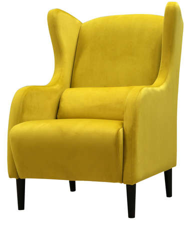 Armchair isolated on white background. Bright yellow armchair.