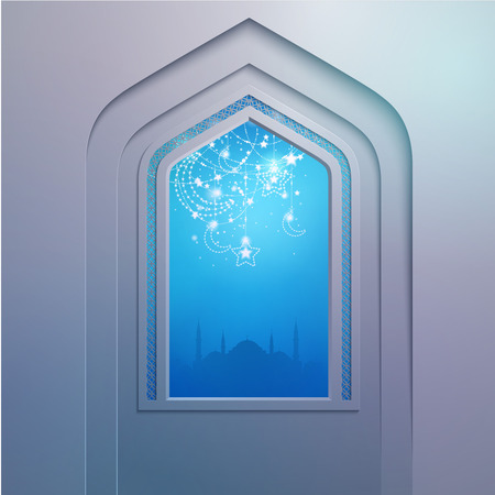 pilgrimage: Mosque door with geometric arabic pattern for greeting festival background