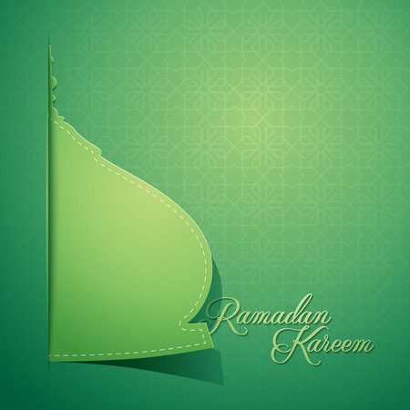 Mosque dome paper style for greeting background Ramadan Kareem