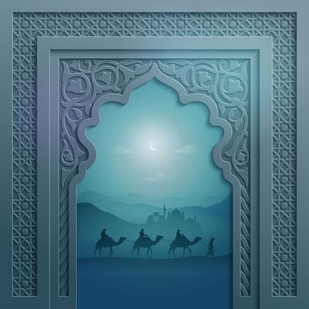 Puerta de la mezquita con el modelo geométrico árabe y el paisaje de saludo musulmán Eid Mubarak Foto de archivo - 56373854
