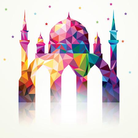 Ramadan Kareem Kleurrijke Driehoek Moskee Stock Illustratie