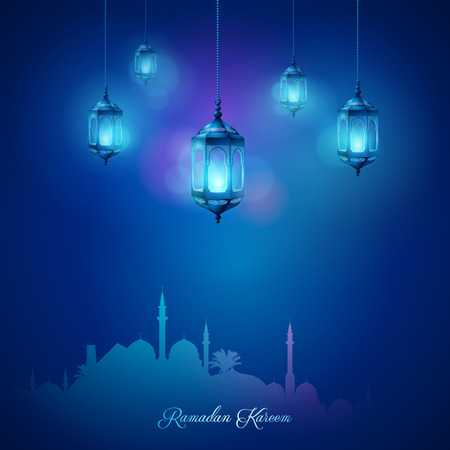 Arabic lamp and mosque islamic celebration greeting background Ramadan Kareem