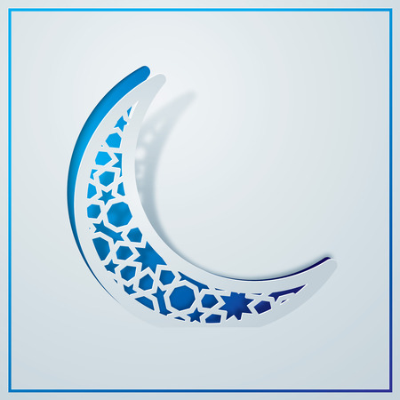 Islamic background design arabic pattern in crescent symbol Illustration