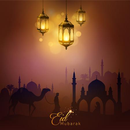 Eid 무바라크 아랍어 램프와 모스크 실루엣 인사말 카드 배경