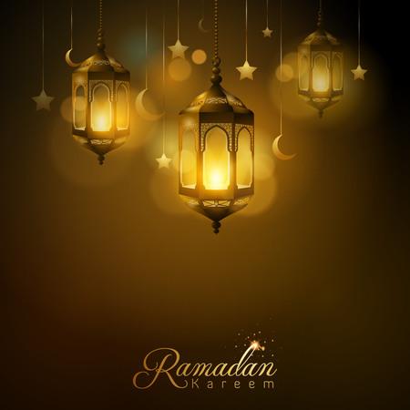 Ramadan Kareem glow arabic lantern star and islamic crescent Vettoriali