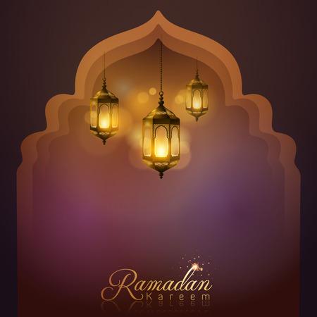 greeting card background: Ramadan Kareem arabic lamp greeting card background